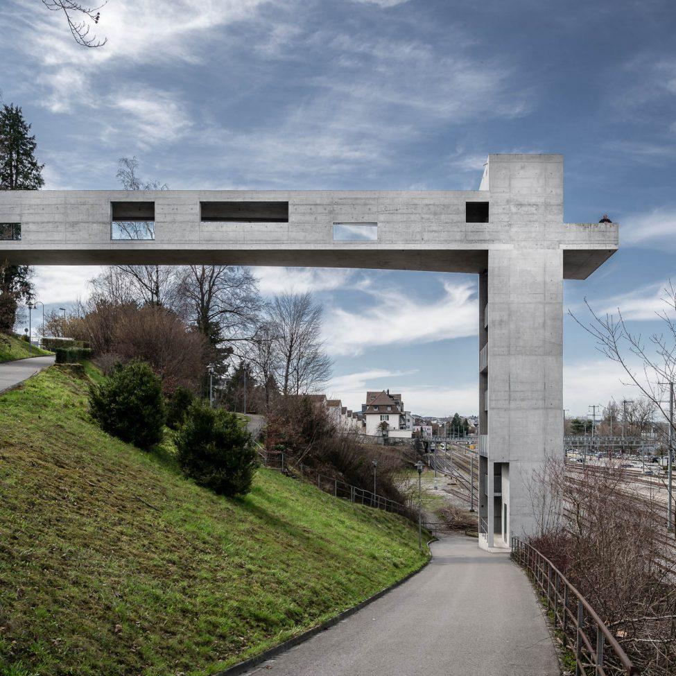 Architekturfotografie Panoramalift und Treppenturm Rorschach
