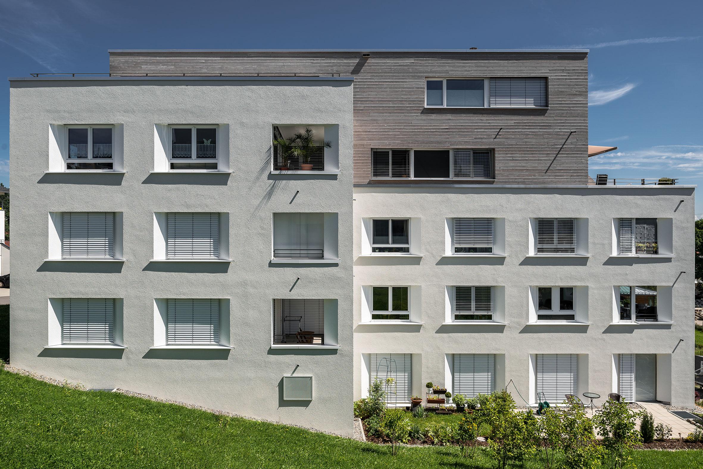 Architekturfotografie Wohnanlage Alpenpanorama Lindenberg. Foto: Gerd Schaller / BAUWERK PERSPEKTIVEN